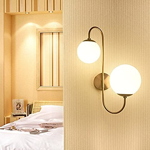 Milky White Globe Glass Shade 2-Light Indoor Wall Sconce Lamp Fixture Aged Brass