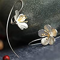 Yesiidor Flower Earring Women Lady Fashion Charm Silver Plated Lily Earrings Chic Jewelry Gift