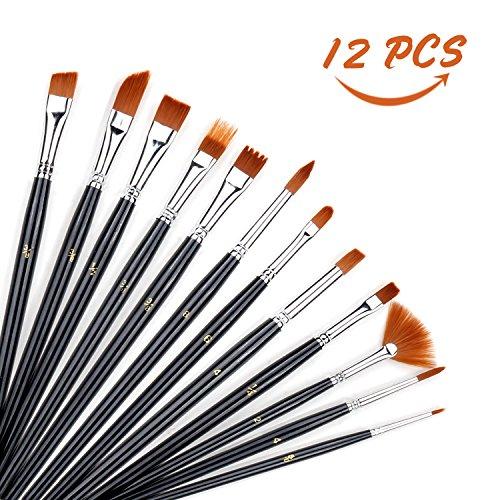 Künstlerpinsel, innislink Premium 12 Pinselset Künstler Malen Pinsel Nylon Pinsel Wasserfarbe Pinsel Pinselset Ölmalpinsel usw für Anfänger, Kinder, Künstler und Gemälde Liebhaber