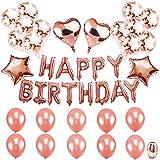 Tian Rose Gold Alles Gute zum Geburtstag Ballons Banner mit Roségold Konfetti Latex Ballons Herz Sternförmige Folienballons für Kinder Mädchen Frauen Geburtstag Party Dekoration Lieferungen