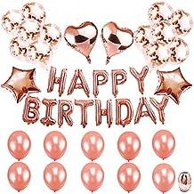Tian Globos de feliz cumpleaños Bandera con 24Pcs Rose Gold Confetti Globos de látex 4Pcs Corazón