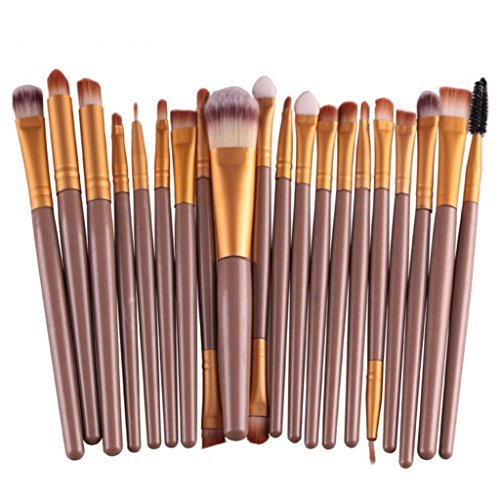 Susenstone 20 pcs/set Makeup Brush Set tools Make-up Toiletry Kit Wool Make Up Brush Set (Gold)