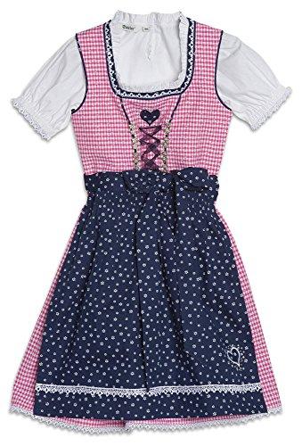 M/ädchen Trachtenrock Baby mit angen/ähter Sch/ürze grau//rosa