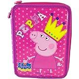 PEPPA PIG Plumier Estuche lleno 31 piezas 2 cremalleras rosa / violeta