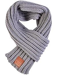 Lumanuby 1X Écharpe Accessoire Branches pour Enfants Écharpe en Tricot de Laine Belle écharpe à Rayures Collar Foulards Elégant -100-135cm Gris
