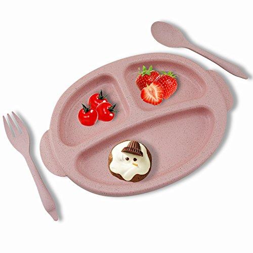 rancco® Bambini dinnerware set piatto da cena per bambini, 25,4 x 17,3 cm Baby mangiare piatti stoviglie per bambini Cute punti vassoio + 1 cucchiaio + 1 forchetta, senza BPA (Rosa)