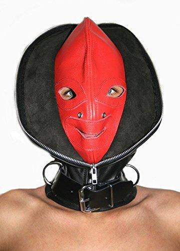 Fetisch BDSM Bondage Kopfmaske Ledermaske Maske Doppelmaske (S/M, Schwarz/Rot)