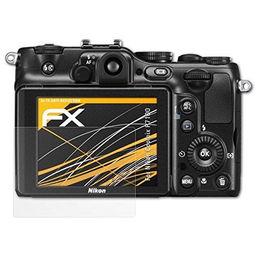 atFoliX Panzerfolie kompatibel mit Nikon Coolpix P7100 Schutzfolie, entspiegelnde und stoßdämpfende FX Folie (3X)