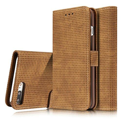 FQIAO iPhone 7 Plus Mode Brieftasche Hülle PU Leder Flip Kickstand Schützend Verteidiger mit Kartenschlitz Kartenschlitz Dauerhaft Abdeckung für Apple iPhone 7 Plus 5.5 Zoll 2016 Freisetzung(Braun)