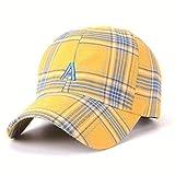 Yaal Baseballkappe, Visor Plaid Drei-Farben-Sonne Hat Männlichen Hip-Hop-Brief Eine Baseball Kappe Für Männer und Frauen,Yellow