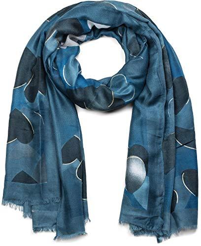styleBREAKER Sciarpa da donna con motivo cuori e frange sciarpa invernale stola foulard 01017084 coloreBlu