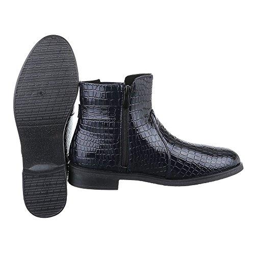 Ital-Design Chelsea Boots Damen Schuhe Chelsea Boots Blockabsatz Leicht Gefütterte Reißverschluss Stiefeletten Dunkelblau