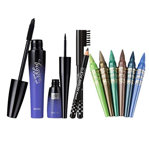 perfk Mascara Noir à Extension de Cils 3D + Stylo Eyeliner Eye Liner Noir Liquide + Crayon à Sourcils avec Brosse + 6x Stylo à Sourcils à Fard à Paupières - Kit Outils Beauté des Yeux