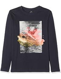 Rip Curl Boys 'Satured acción impresión manga larga camiseta, Niños, color azul oscuro, tamaño L