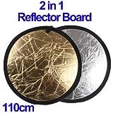 2 in 1 (Or / Argenté) Pliage Pliant Repliable Réflecteur Panneau (110cm)