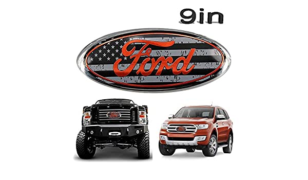 Poiuy For Ford Front Grille Tailgate Emblem,1PCS,9 inch American Flag Oval Decal Badge Nameplate Also Fits for Ford 04-14 F250 F350,11-14 Edge,11-16 Explorer,06-11 Ranger