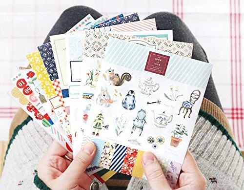 YPSelected Set 9 Blatt Papier Aufkleber etiquetage Paket Diary Deco Sticker Scrapbooking Geschenk (Ver. 5)