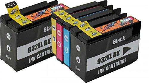 Preisvergleich Produktbild Start - 5 XL Ersatz Chip Druckerpatronen kompatibel zu HP 932XL / HP 933XL Schwarz, Cyan, Magenta, Gelb für Hewlett Packard OfficeJet 6100 e-Printer, 6600 e-All-in-One, 6700 Premium, 7110 wide format, 7510 WF, 7600 Serie, 7610 wide format, 7612 wide format
