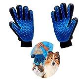 Haikingmoon Spazzola Gatto, Blu True Touch Guanto Animali Guanti Pelo Gatto e Pulizia Animali da Compagnia Toelettatura per Spazzolare Guanto [2 Pezzi]