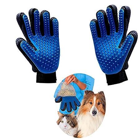 Haustier Handschuh,Haikingmon Blau Silikon Haustier Fell Grooming Bürsten Deshedding Glove Cat Hunde Fellpflege und Reinigen Haar-Remover-Bürsten Massage-Handschuh [2 Stück]