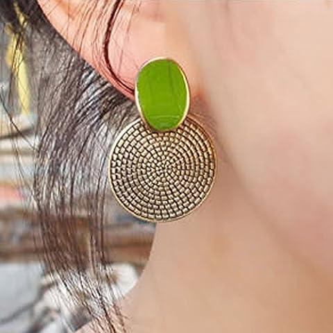 Juanya Femmes Vintage grande goutte vert rond sculpté boucles d'oreilles Stud