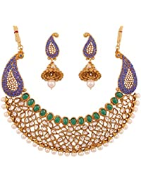 Touchstone Indian Bollywood Kundan Look Faux Emeralds And Blue Sapphire Jewelry Necklace Set For Women