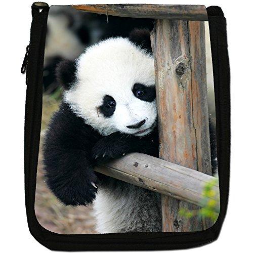 Panda Medium Nero Borsa In Tela, taglia M Panda Cub Relaxing