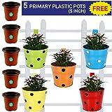 #6: Trust Basket Single Pot Railing Planter, Set of 5 (Red, Yellow, Blue, Orange, Green)