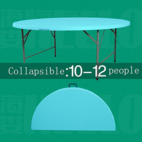 LVZAIXI Table pliante ronde, pliée en deux. Un grand nombre de tables rondes sont assis confortablement pour beaucoup de gens. ( Couleur : Bleu , taille : 1.5m )