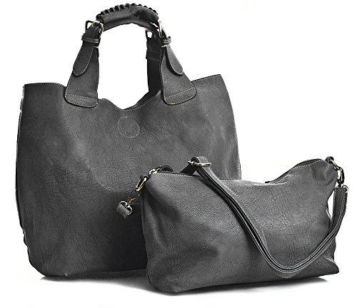 BHBS Femmes Cuir Artificiel Mode Haut Manipuler Deux en Un sac fourre-tout 43x30x16 cm (LxHxP)