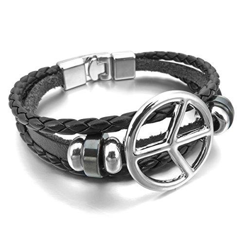 MunkiMix Alliage Genuine Leather Véritable Bracelet Bracelet Cordon Corde Noir Brun Ton d'Argent Pilotage Paix Symbole Roue Homme,Femme Noir