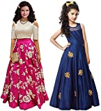 #6: Market Magic World Girl's Pink & Blue Banglori Semi Stitched Combo Pack lehenga Choli, Salwar Suit, Gown (Kids Wear_Free Size_8-12 Year age)