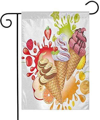 Shinanla Multi-Pattern Garden Flag Ice Cream Verschiedene Geschmacksrichtungen Schmackhaftes Sommerdessert mit Pfirsich-Aprikosen-Erdbeer-Sorbet-Aufdruck Add Beauty Multicolor -