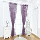 timlatte Masterein Phoenix Heckfenster-Vorhang-Sheer-Teiler-Panel Halb Blackout Jalousie Wohnzimmer Schlafzimmer Vorhänge lila 100*200cm