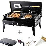 SunJas - Set per picnic barbecue a carbonella con ventilatore, pinza, forchettone, paletta per Barbecue e 12 spiedini, barbecue da tavolo all'aperto, da campeggio, a carbonella, barbecue da viaggio pieghevole con griglia