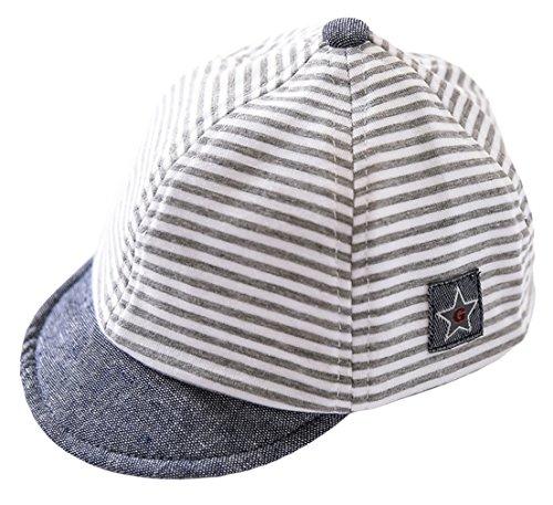 DEMU Baby Kleinkinder Fischerhut Strandhut Sommerhut Sonnenschutz Kappe Schirmmütze (Schiebermütze Grau, Hut Umfang 46cm) (Babys Sonne)