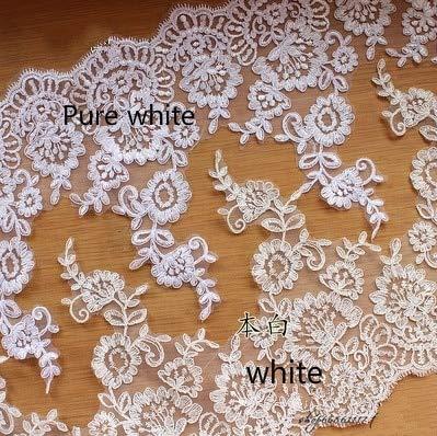 HELUHMX Rot weiß Auto Knochen wimpern Spitze handgemachte DIY Kopfschmuck Hochzeit Schleier Spitze zubehör breite 27 cm weiß 3 Yards (Weißes Auto Wimpern)