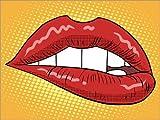 Cuadro sobre lienzo 80 x 60 cm: Red lips de Colourbox - cuadro terminado, cuadro sobre bastidor, lámina terminada sobre lienzo auténtico, impresión en lienzo