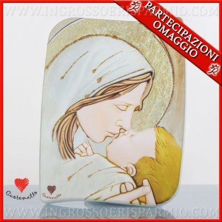 Cuorematto -quadretto icona sacra in legno raffigurante la maternità con dettagli color oro in rilievo, dimensione 10 x 13 cm,scatola regalo inclusa - bomboniere nascita, comunione, primo compleanno, battesimo, cresima,nozze,matrimonio(kit 1 pz + confezione)