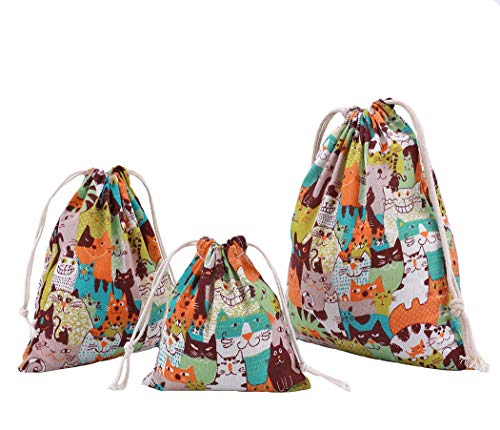Abaría - 3 unidades bolsa de algodón con cuerdas – Pequeña saco b