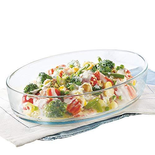 Borosil Oval Baking Dish, 700ml, Transparent