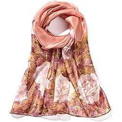 Invisible World Pañuelo Bufanda de 100% Seda Pintado a Mano - Rosas Monocromáticas -Mauve