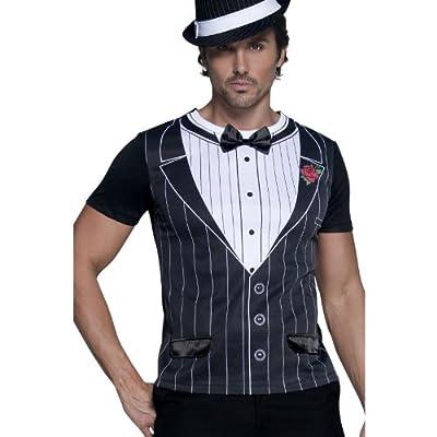 T-shirt imprimé déguisement gangster noir et blanc