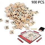 lvedu 100 piezas de madera alfabeto carta azulejos negro Scrabble letras números Crafts juguete educativo para