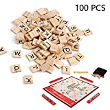 lvedu 100piezas de madera alfabeto carta azulejos negro Scrabble letras números Crafts juguete educativo para niños 100 PCS amarillo