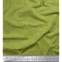 Soimoi Verde crepe de rayón Tela Eclipse lunar tela de camisa tela artesanal impresa por metro 46 Pulgadas de ancho