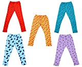 #5: IndiWeaves Girls Super Soft and Stylish Cotton Printed Leggings(Pack of 5)