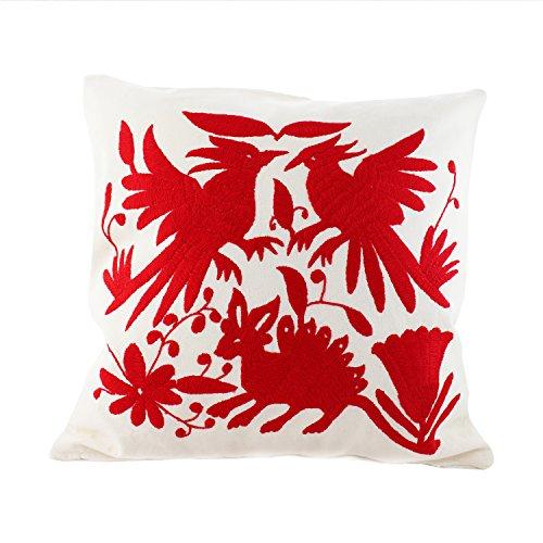 Sofakissen 3 Tiere rot | Stickerei 40x40cm mit Innenkissen, Reißverschluss | mexikanische Otomi Kissen, Sofakissen | Dekokissen | Dekorative (Mexikanischer Stickerei)