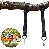 POOTACK 1 Paar Baum Swing Swing Hanging Gurt Kit Hält Polyester-Faser Riemen mit 2 Safety Lock Karabiner Haken und 2 langlebige D-Ring für Baum Swing & Hängematten, mit Carry Pouch