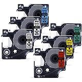 6x Startup DYMO D1 Schriftbänder Kompatibel 45010 45013 45016 45017 45018 45019 Etikettenband Kassette mit LabelManager, LabelPOINT, LableWriter Etikettendruckern, 12mm x 8m